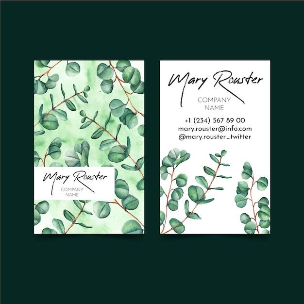 緑の両面縦型名刺 Premiumベクター