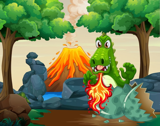 Green dragon hatching egg in forest Free Vector
