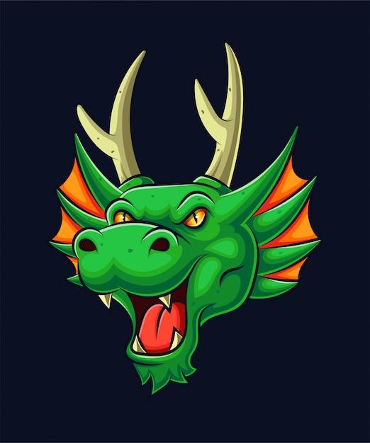 Иллюстрация талисмана головы зеленого дракона Premium векторы