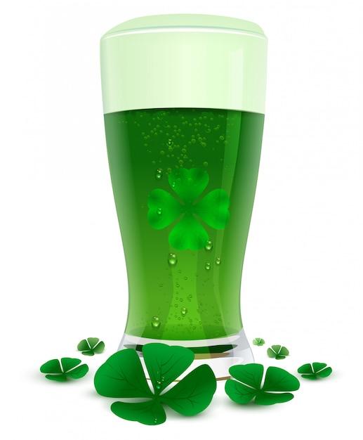 Green drink ale in high transparent glass. green leaf quatrefoil clover symbol of st. patricks day Premium Vector