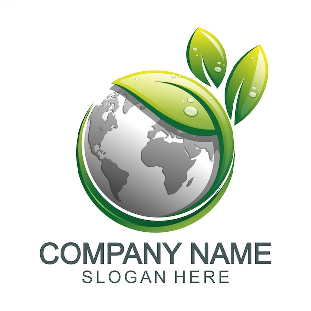 Green earth global logo Premium Vector