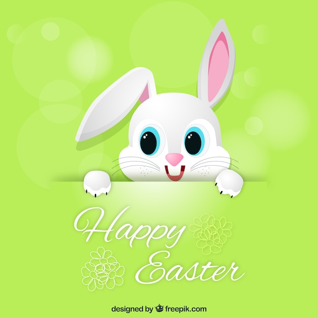 Green Easter Card With Cute Bunny Vector Free Download