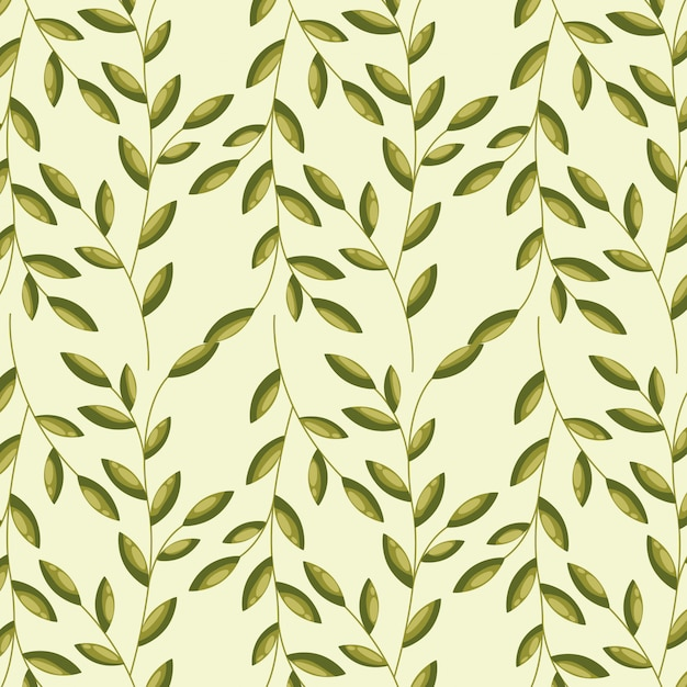 Green eaves, pattern illustration Free Vector