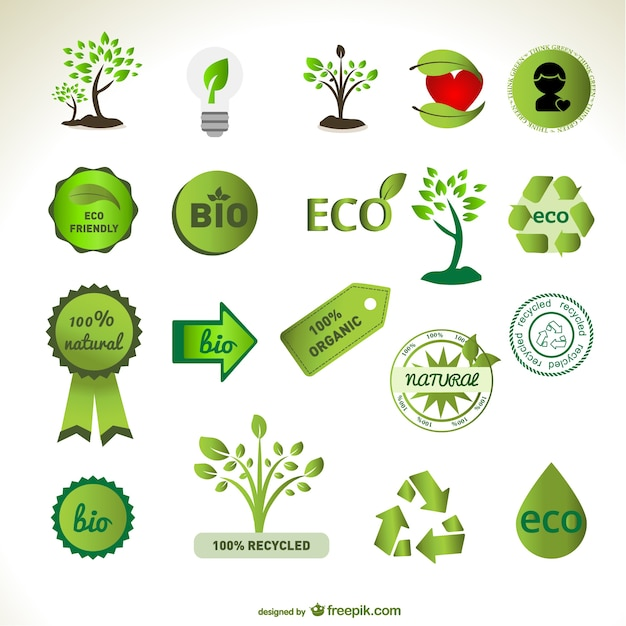 Green eco badges and tree designs Free Vector