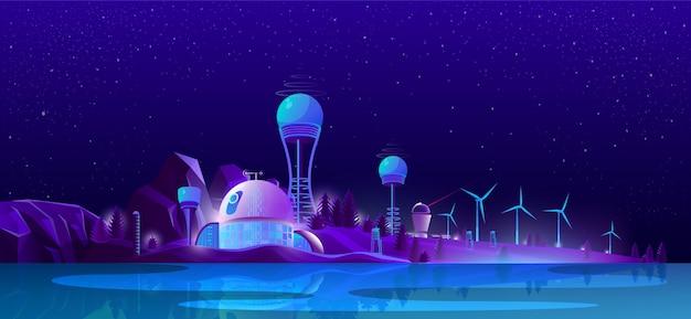Green eco city, alternative clean energy, ecology Free Vector