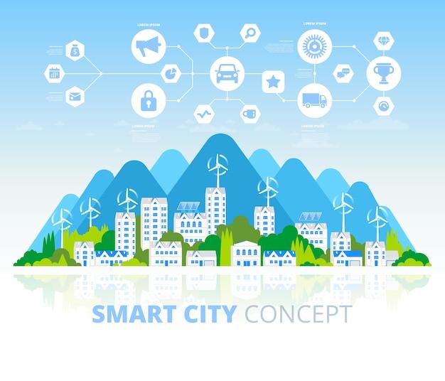 緑のエコシティと持続可能な建築のバナー。図。ソーラーパネルと風車のある建物。幸せなきれいな近代的な都市。地球を救う。エコ技術の創造的な概念。 Premiumベクター