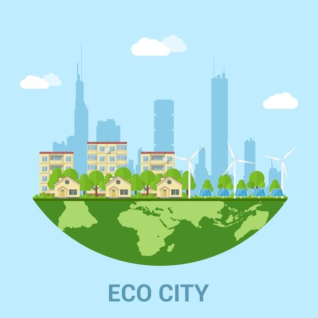 民家、パネルハウス、風力タービン、ソーラーパネル、再生可能エネルギーとエコ技術のスタイルコンセプトがある緑豊かなエコシティ Premiumベクター