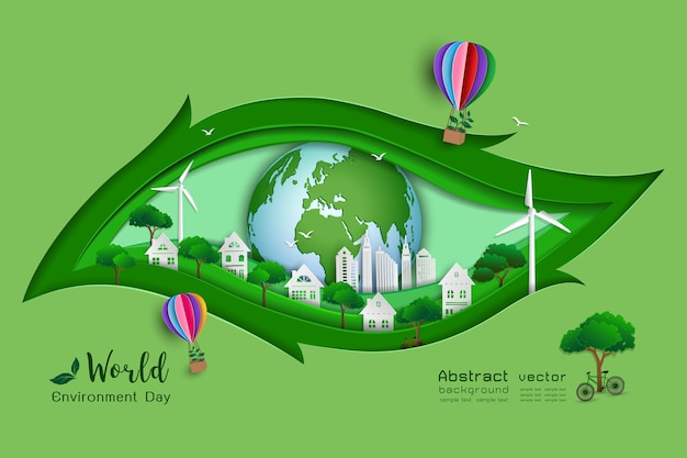 Green eco friendly save the world and environment concept Premium Vector