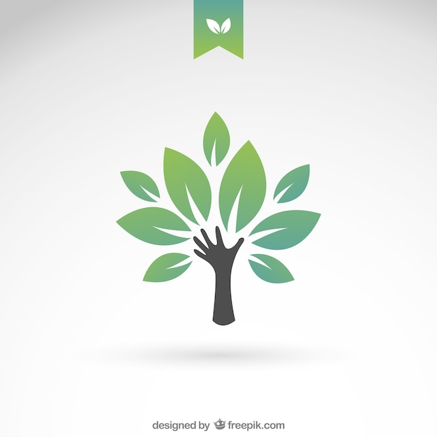 Green eco tree  Free Vector