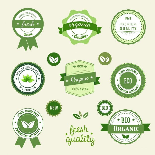Green ecological labels Free Vector