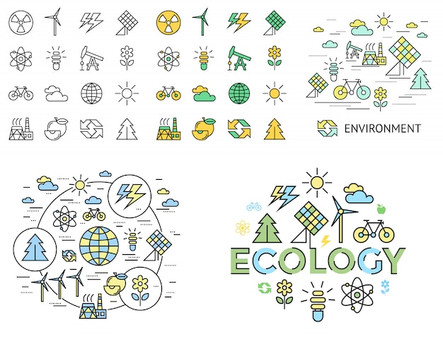 Green ecology icons collection Premium Vector