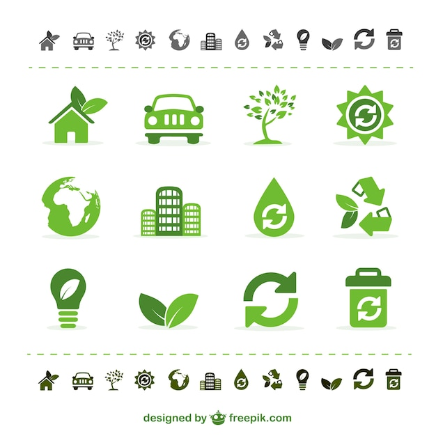 Green ecology icons Free Vector