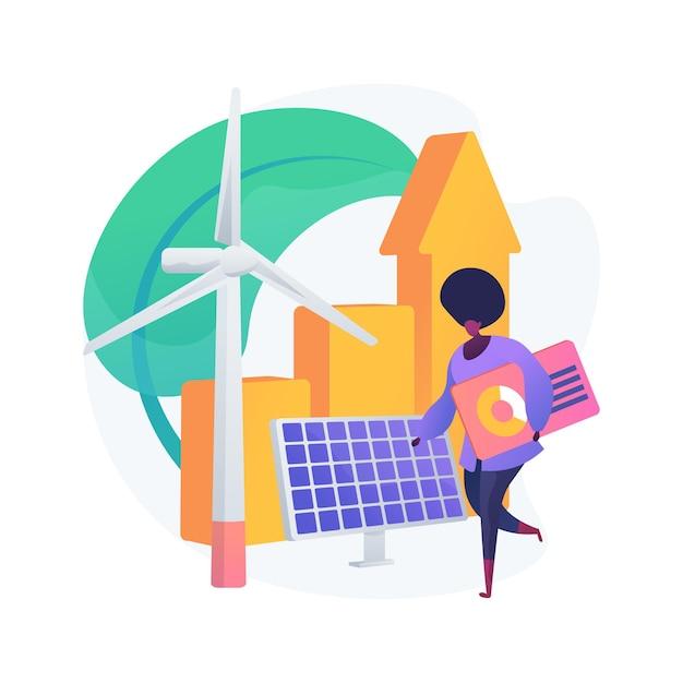 グリーン経済の抽象的な概念図。低炭素世界経済、持続可能な開発、グリーン教育、世界経済成長、バイオサーキュラー、気候変動に強い 無料ベクター