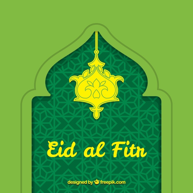 Green eid al fitr hand drawn decorative background