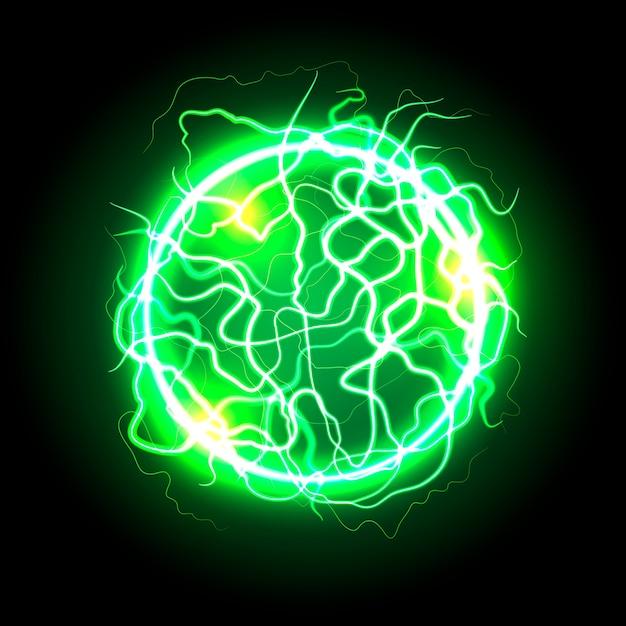 Green electric ball light effect Free Vector