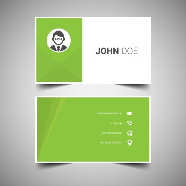 Green elegant business card template vector free download for Elegant business card template