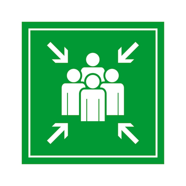green emergency evacuation assembly point sign vector