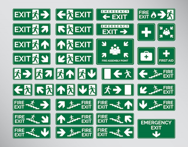 Green Emergency Exit Signs Icon And Symbol Set Template Design