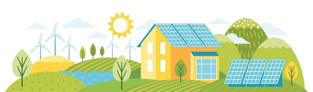グリーンエネルギーは環境にやさしいモダンな家です。代替エネルギー。環境にやさしい景観 Premiumベクター