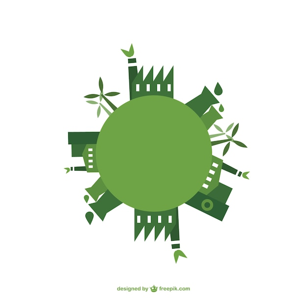 Green energy buildings Free Vector