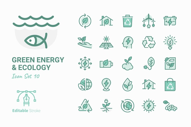 Green energy & ecology vector icon collection Premium Vector