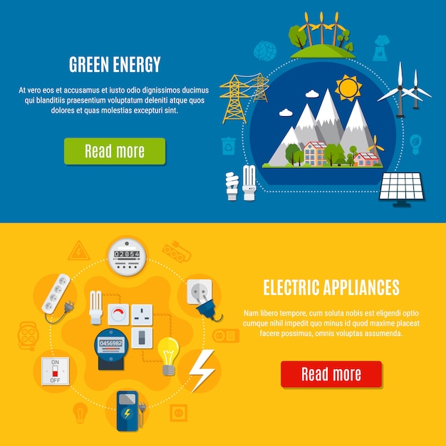 Green energy and electric appliances banners Free Vector