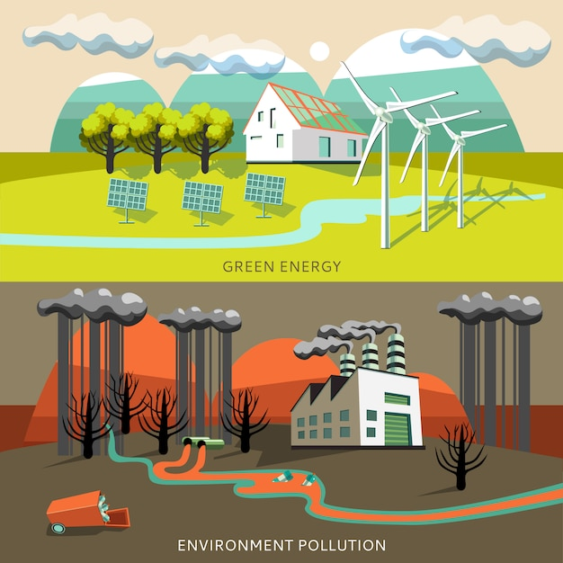 Green energy and environment pollution banners Free Vector