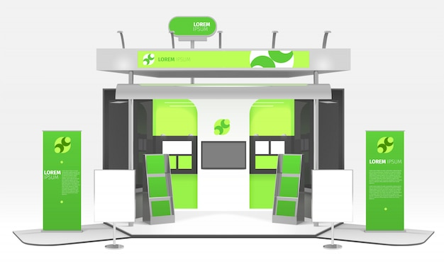 Green energy exhibition stand design Free Vector