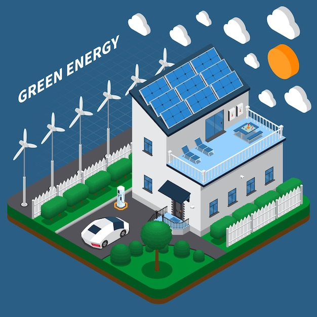Green energy generation for household consumption isometric composition with roof solar panels and wind turbines Free Vector