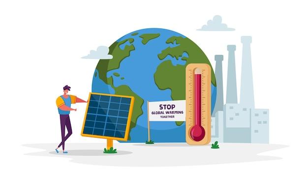 Зеленая энергия, глобальное потепление и проблемы окружающей среды Premium векторы