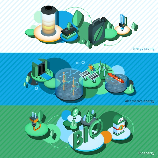 Green energy isometric banners Free Vector