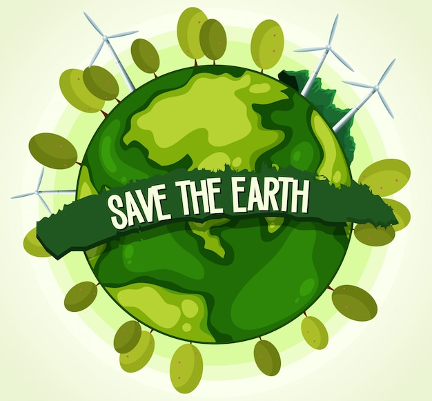 Green energy for save the earth Free Vector