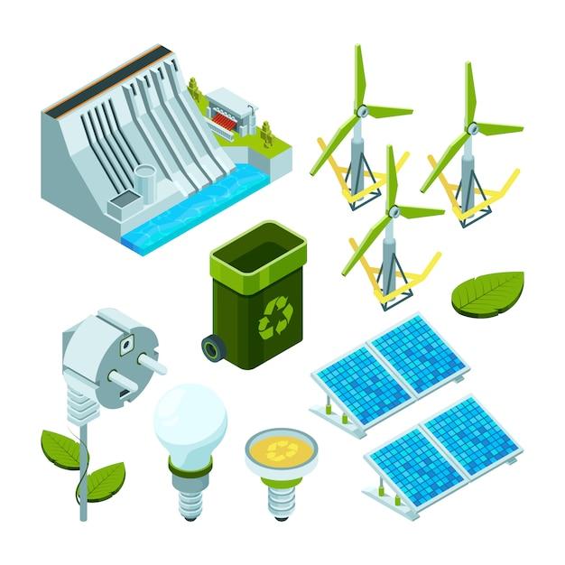 Green energy, saving factory power electric hydro turbines ecosystem various technology 3d isometric symbols Premium Vector