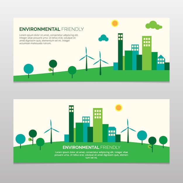 Green enviromental friendly banner Free Vector