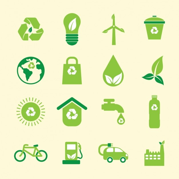 Green environmental icons collection Free Vector