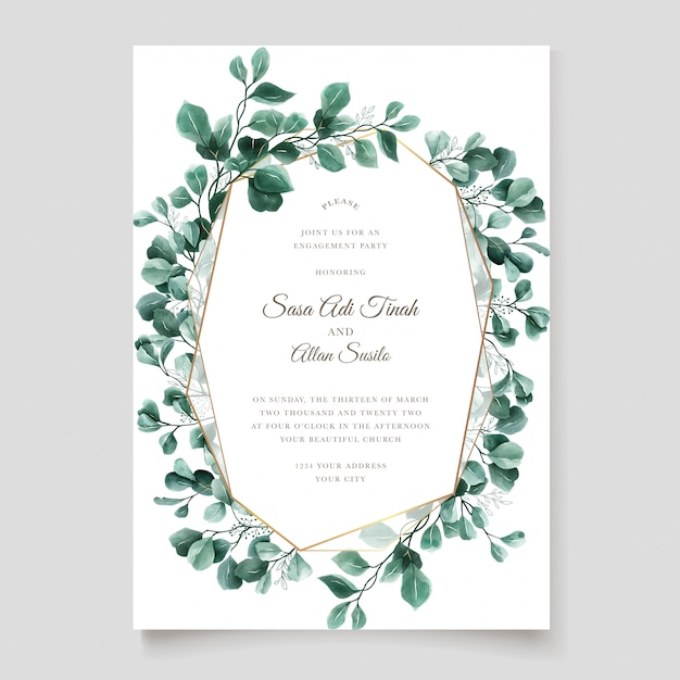 Green eucalyptus wedding invitation card template Free Vector