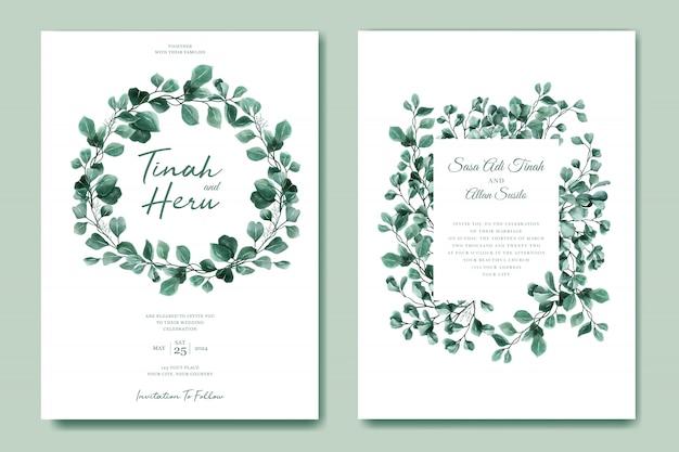Зеленый эвкалипт свадебный пригласительный билет шаблон Бесплатные векторы