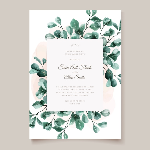 Green eucalyptus wedding invitation card template Premium Vector