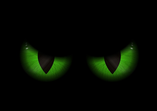 Green evil eyes background Free Vector