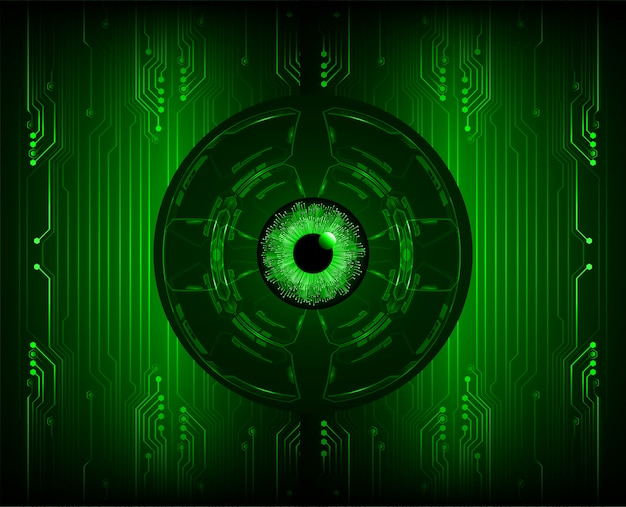 Green eye cyber circuit future technology concept background Premium Vector