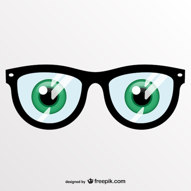 green and glasses vector free