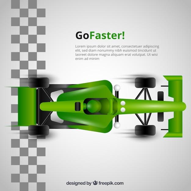 Green f1 racing car crosses finish line Premium Vector