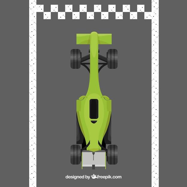 Green f1 racing car crosses finish line Free Vector