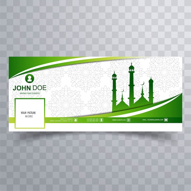 Green facebook cover with mosque Free Vector