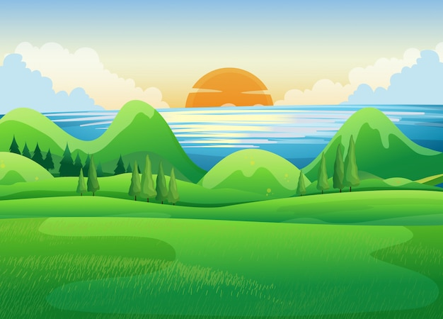 Green field at sunset Free Vector