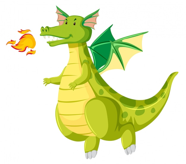 Green fire breathing dragon Free Vector