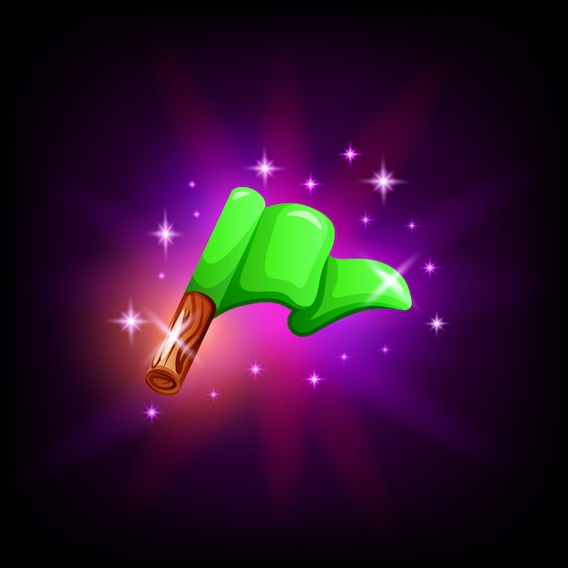 Green flag on pole gui element for game or mobile application design on dark background. start or finish icon in cartoon style Premium Vector