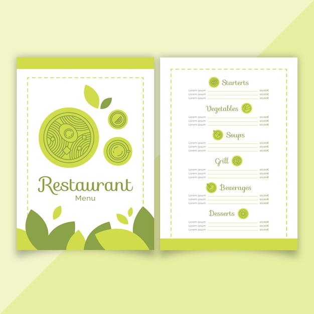 Green flat restaurant menu template Free Vector