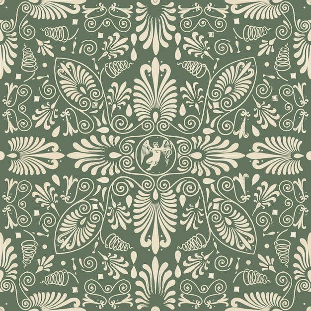 Green floral seamless pattern background Free Vector