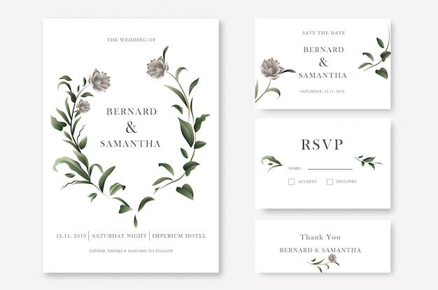 Green floral wedding invitation card template Premium Vector